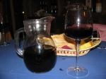 Enjoying the house wine at Irossi
